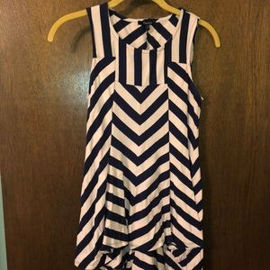 Pink and Navy Fitted Peplum Top